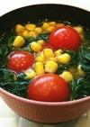 簡単♡トマトとコーンとモロヘイヤの味噌汁