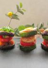 夏野菜を使ったヘルシーチキンバーガー