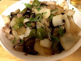 夏野菜と豚肉のにんにく醤油炒め(^^)