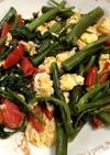空芯菜炒め 卵 トマト入り