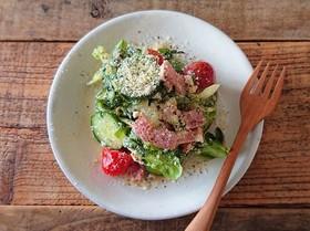 夏野菜消費に。夏野菜と豆腐のサラダ