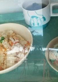 チャーハン中華スープ春雨サラダ 高菜炒飯