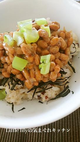 納豆と大根葉のご飯