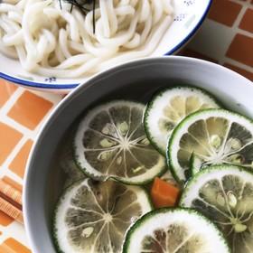 <残暑>カボスの温つけ麺