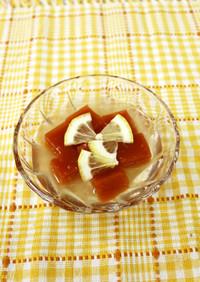 トマト寒天レモンジンジャーシロップがけ