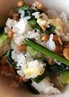 納豆と小松菜の胡麻和え、チーズご飯