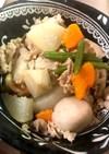 白だしであっさり。根菜と豚肉の煮物