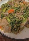 豆苗と豚肉の炒め物
