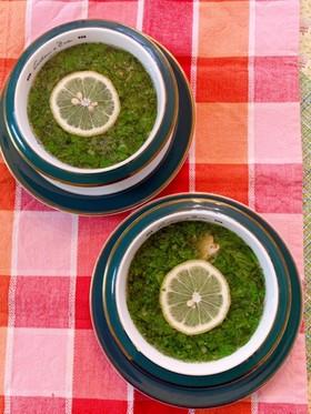 モロヘイヤとささみのレモン風味スープ