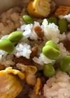 納豆と枝豆のまぜご飯(卵焼き入り)