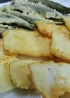 イカの刺身と、赤おくらの天ぷら☆
