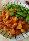 鶏皮とシシトウのカリカリ炒め