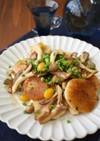 キノコと長芋のガーリックしょうゆ炒め