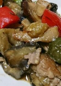 豚こま肉と夏野菜の生姜味噌炒め