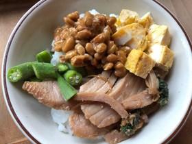 残り物で!納豆とマグロの4色丼