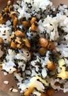 納豆とシソの実のまぜご飯