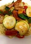 家庭菜園野菜で作るの冷製パスタ