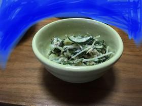 水菜ときゅうり、ワカメのツナマヨサラダ