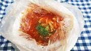 災害時の食事2…常温品でミネストローネ風の写真