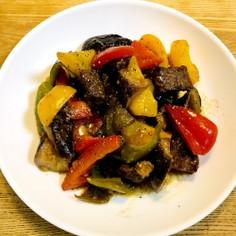 サイコロステーキと彩り野菜の甘酢炒め