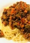 合い挽き肉のボロネーゼ風パスタ