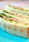 ワッフルメーカーでパン焼いたサンドイッチ