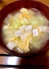 簡単!キャベツと豆腐と卵のお吸い物