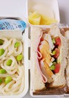 サンドイッチと冷しうどん弁当