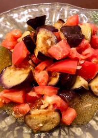 焼き茄子とトマトのマリネ 柚子胡椒風味