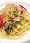 彩り野菜☆たまねぎソースのペペロンチーノ