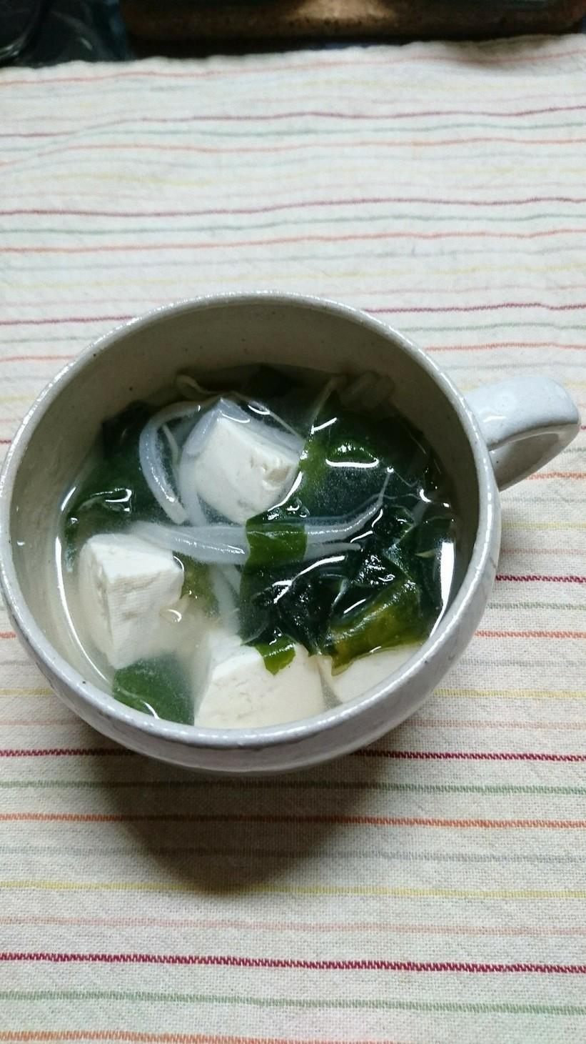 豆腐とわかめ、もやしのスープ(^○^)