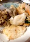 白身魚と舞茸の天ぷらと三色かき揚げ