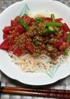 納豆と梅のお素麺