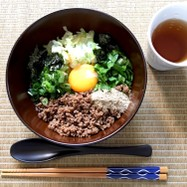 作り置き肉そぼろ→台湾混ぜそば(全卵)