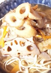 根菜類と竹輪蕎麦