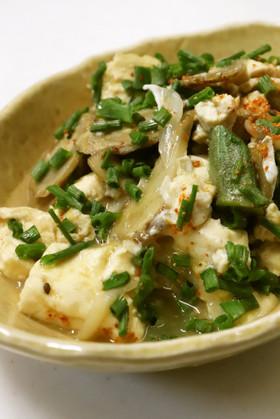 簡単美味♪豆腐ごぼうオクラ玉ねぎの卵とじ