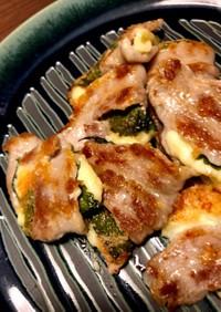 豚バラのチーズえごまの挟み焼〜キムチ添え