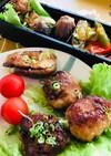 簡単夜食つくねと弁当に椎茸肉詰めと肉茄子