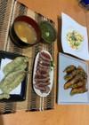 肉巻きとイワシの天ぷら