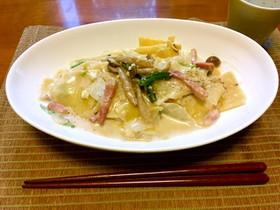 白菜とベーコンのクリームラザニア☆箸でも