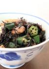【副菜】生ひじき厚揚げオクラ生椎茸の煮物