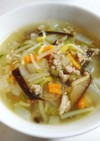 食感を楽しむ⭐もち麦入り中華風スープ