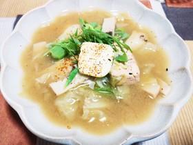 糖質オフ☆鮭とキャベツの味噌バタースープ