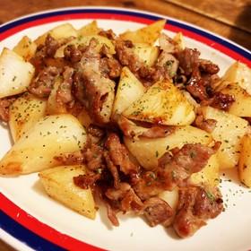 カリカリ豚肉と山芋のバター醤油焼お弁当に