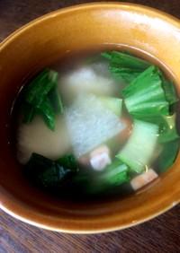 冬瓜と青梗菜ブロックベーコンとろみスープ