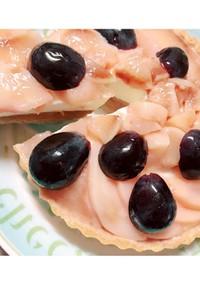 桃とぶどうのレアチーズタルト