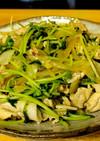 豆苗と豚こま切れ肉のゴマ醤油炒め。