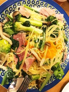 牛乳で簡単☆生ハムと野菜のカルボナーラ