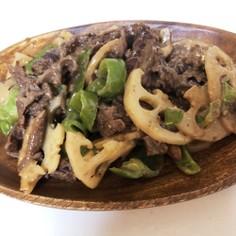 牛肉とレンコンのオイマヨ炒め