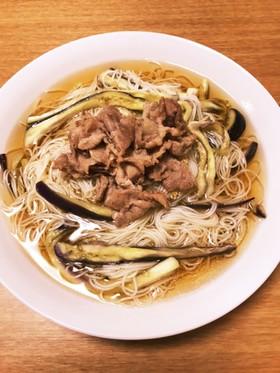 豚生姜焼き乗せぶっかけ細切りナス入り素麺